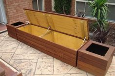 Diy Outdoor Bench With Storage Waterproof Backyard Seating, Garden Seating, Outdoor Benches, Modern Outdoor Storage, Backyard Landscaping, Outdoor Box, Landscaping Design, Outdoor Ideas, Outdoor Decor