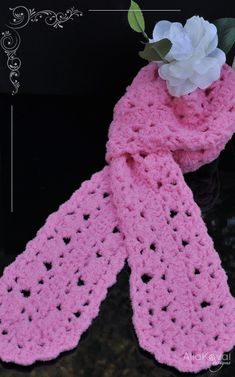Tickled Pink. Crochet Scarf Free PDF Pattern for Kids & Women
