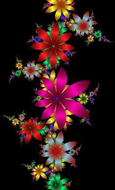 Color on Black - Phone Wallpaper Art Fractal, Fractal Design, Art Floral, Backgrounds Wallpapers, Iphone Wallpapers, Cellphone Wallpaper, World Of Color, Flower Wallpaper, Rainbow Colors