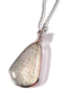 Tears of the Moon. Iridescent Clear Dichroic Fused Glass teardrop in silver Pendant on necklace JujusCrafts