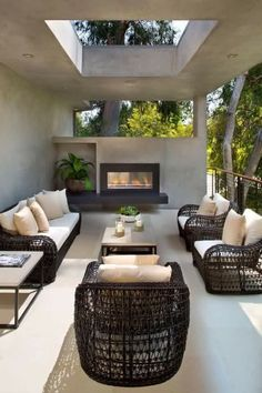 Modern sophisticated terrace/porch/balcony with fireplace. For similar pins please follow me at - https://www.pinterest.com/annelouise1959/terrace-porch-balcony/