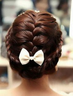 cute with the bow, but for a wedding up do maybe just with some diamond bobby pins and the veil.