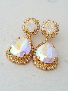 Rose gold Chandelier earrings,Rose gold blush Bridal earrings ...