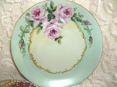 Cottage Romantic Shabby Vintage Chic Porcelain plate with Pink Roses | Flickr - Photo Sharing!