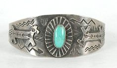 Authentic Vintage Native American Sterling Silver Navajo Fred Harvey Era 1940 Turquoise Bracelet