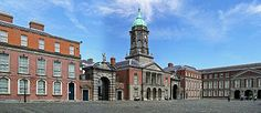 Dublin Castle, Upper Yard. The Bedford Tower of 1761 compromises the centerpiece of the Castle's principal Georgian courtyard, flanked by the gates of Fortitude and Justice.-