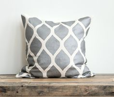 Metallic silver & off-white handprinted organic hemp pillow cover 20x20. $70.00, via Etsy.