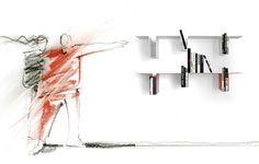 Cerebro è la libreria di #Spacesedys per composizioni a parete realizzata in lamiera verniciata con polveri epossidiche nei colori bianco, rosso e nero. #design #italianstyle #furniture #interiors