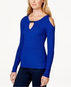 XOXO Juniors' Cold-Shoulder Mixed-Knit Sweater - Juniors Sweaters - Macy's #XOXO #Sweater #Sexy #Fall #Winter