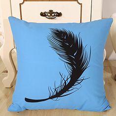 """Droyee Linen Cotton Throw Pillow Case Decorative Cushion Covers Modern Minimalist Feather(18""""*18"""")"""