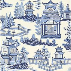 Discover hundreds of wallpaper ideas on HOUSE - design, food and travel by House & Garden including this enlarged willow pattern print - Nanjing by Schumacher Toile Wallpaper, Chinoiserie Wallpaper, Wallpaper Samples, Wallpaper Roll, Pattern Wallpaper, Bathroom Wallpaper, Print Wallpaper, Wallpaper Ideas, Chinoiserie Motifs