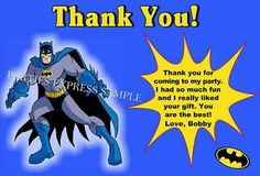 Batman birthday party thank you cards / notes personalized