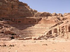 Theater, Petra, Jordan  Although it looks very similar to Roman theaters, the theater in the capital was in fact built by the Nabateans in the 1st Century AD, at a time when Roman influence was high. Originally built to seat 3000 people, the theater was later extended to seat about 7000