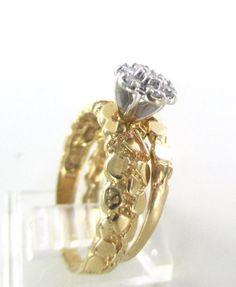 14KT YELLOW GOLD RINGS 7 GENUINE DIAMOND .30 CARAT RING WEDDING BAND NUGGET