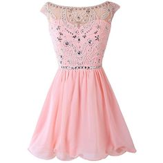 Dresstells Women's Short Chiffon Beading Homecoming Dresses ($125) ❤ liked on Polyvore featuring dresses, vestidos, robes, short dresses, short beaded dress, pink dress, beaded dress, beaded cocktail dress and pink mini dress