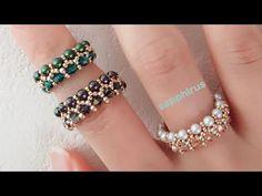 Handmade Wire Jewelry, Diy Crafts Jewelry, Handmade Bracelets, Beaded Jewelry Patterns, Beading Patterns, Beaded Rings, Beaded Bracelets, Swarovski Ring, Ring Tutorial