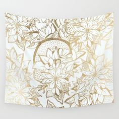 Elegant white faux gold hand drawn flowers Wall Tapestry