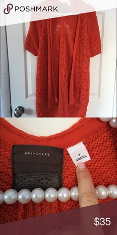 Long Anthropologie Orange Knit Sweater Brand new! Never worn. Long and comfortable. NO TRADES PLEASE Anthropologie Sweaters Cardigans