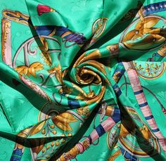 ce48e085d876 Stunning Hermes Paris JACQUARD Silk Scarf - DAÏMYO vibrant turquoise  colourway