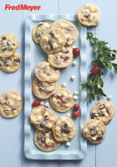 These Cranberry-White Chocolate Chip Cookies are a holiday version of your favorite traditional dessert. Using dried cranberries, white chocolate chips, and a hint of nutmeg, this soft and chewy cookie fits the season so deliciously, it'll be the star of your annual cookie exchange.