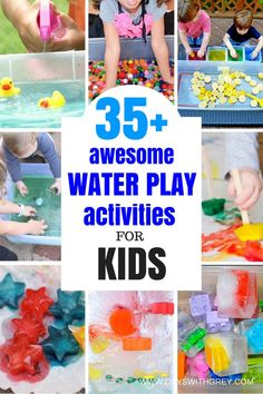 Water play activities for toddlers and preschoolers to use this summer. These outside games for water play and frozen ice activities are great for the upcoming hot days. Water Play Activities, Water Games For Kids, Games For Toddlers, Summer Activities For Kids, Indoor Activities, Infant Activities, Preschool Activities, Sensory Play, Water Tables For Toddlers