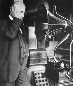 The phonograph was patented 19 february, 1877 by Thomas Edison. While other inventors had produced devices that could record sounds, Edison's phonograph was the first to be able to reproduce the recorded sound. Thank St Thomas. Radios, Edison Inventions, Thomas Alva Edison, Happy Birthday Tom, Influential People, Phonograph, Famous Faces, American History, Westminster