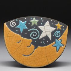 MoonStarsCelestial rocking clay ceramic by DavisVachon on Etsy, $38.00