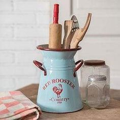 Red Rooster Kitchen Caddy Pitcher Add the perfect finishing touch to your kitchen counter top with this whimsical Red Rooster Kitchen Caddy Pitcher. Display floral arrangements or large kitchen utensils. x Not guaranteed watertight. Shabby Chic Kitchen, Farmhouse Kitchen Decor, Country Kitchen, Decorating Kitchen, Farmhouse Style, Farmhouse Ideas, Rustic Farmhouse, Decorating Ideas, Farmhouse Remodel