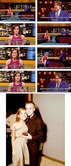 Emma Watson's Crush Story. So many people would have been happy if Emma and Tom Felton had gotten together since Hermione Granger and Draco Malfoy never would. Harry Potter Pictures, Harry Potter Jokes, Harry Potter Cast, Harry Potter Universal, Harry Potter Fandom, Harry Potter World, Dramione, Crush Stories, Yer A Wizard Harry