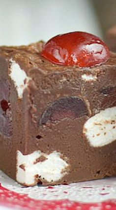 Chocolate Cherry Marshmallow Fudge use my fudge recipe just add cherry and marshmallows