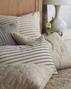 Home Decor Recibidor How to Mix and Match Patterned Bedding Home Decor Styles, Home Decor Accessories, Restoration Hardware Bedding, Bedding Inspiration, Queen Bedding Sets, Home Decor Bedroom, Bedroom Ideas, Master Bedroom, Antique Decor