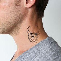 fibonacci spiral tattoo on neck