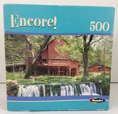 Roseart Encore 500 Piece Puzzle Hodgsons Mill Missouri Barn Waterfall New Sealed #RoseArt