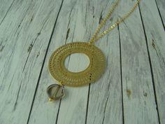 Ketten lang - elegante Kette vergoldet Kreis Rauchquarz gold - ein Designerstück von buntezeiten bei DaWanda