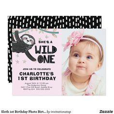 Invitation App, Pink Invitations, Invites, 1st Birthday Photos, Girl First Birthday, Happy Birthday, 1st Birthday Invitations Boy, Sloth, First Birthdays