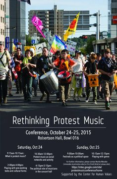 Conference, Rethinking Protest Music: Princeton Univ, NJ. Oct 24–25. Organized by N. Manabe  https://sites.google.com/site/pro