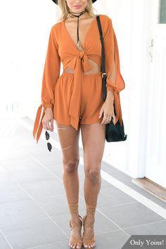 Orange Split Sleeves Self-tie Playsuit  -YOINS