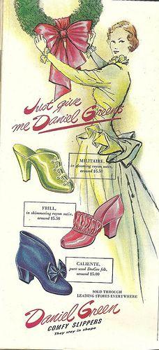 Daniel Green Slippers - Good Housekeeping, 1946 vintage fashion print ad.