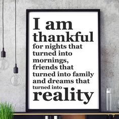 I Am Thankful For… Inspirerande och motiverande typografisk design. 50x70 cm stor poster.