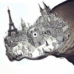 Rhinoceros (a play by Eugène Ionesco) poster illustration by Soheil Danesh, for an adaptation by Iranian director Farhad Ayish