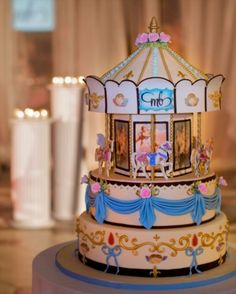 Carousel cake inspiration for Joey's vintage carnival party! Carnival Birthday Cakes, Carousel Birthday Parties, Carousel Cake, Carousel Party, Beautiful Cakes, Amazing Cakes, Piece Of Cakes, Cute Cakes, Cake Creations