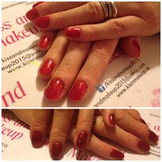 Mum and daughter Christmas salon session, both choosing different shades of red from my bluesky collection topped with the red glitter polish also from bluesky. Very festive!