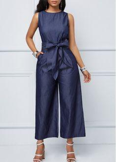 Tie Back Bowknot Detail Denim Jumpsuit Jumpsuit Outfit, Denim Jumpsuit, Tailored Jumpsuit, Cute Fashion, Fashion Outfits, Vetement Fashion, Latest African Fashion Dresses, Online Shopping For Women, Jumpsuits For Women