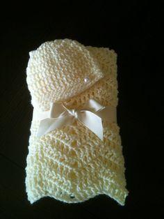 Crochet Preemie Blanket Set - Preemie Blanket and Hat - Preemie Girl Set - New Baby Gift