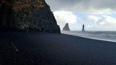 Iceland Black Sand Beach during a hail storm today. (OC)[3550x1993]