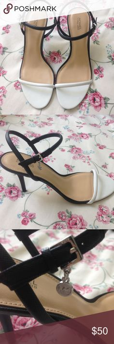 """Black & White Strappy Heels 3.5"""" heel. Never worn, just tried on in store. They say size 10, but I found them to be kinda tight, so might be better for a 9 or 9.5 Michael Kors Shoes Heels"""