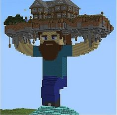 Wow, he must be strong to hold up a house like that!!! :)