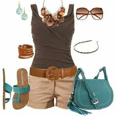 I really like this for a casual day walking around NYC.  The top is great, something more than a standard sleeveless t, and the accessories make the outfit.