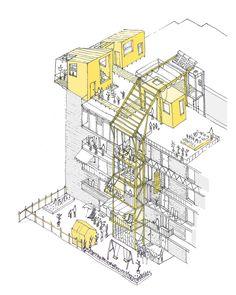 UN-Habitat Announces Winners of Mass Housing Competition,In Valencia, the housing block is altered by temporary additions. Image Courtesy of Improvistos Nunca Vistos (María Tula García Méndez & Gonzalo Navarrete Mancebo)