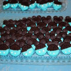 Baby Mickey Mouse Oreo cookie treats for 1st birthday party. I would do red instead of blue